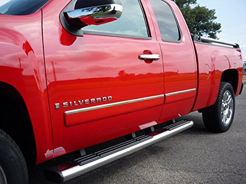 (Made in USA! Works with 2009-2013 Chevy Silverado Extended Cab Rocker Panel Chrome Stainless Steel Body Side Moulding Molding Trim Cover Top 1
