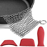UniqueNO1 Cast Iron Scraper Cleaner Set Stainless Steel Cast Iron Cleaning Kit with Silicone Hot Handle Holder for Kitchen 4pack