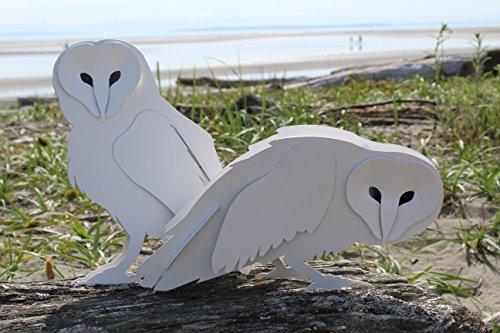 Snow Owl Statue Pair
