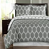 Egyptian Bedding Super Luxurious 100% Egyptian Cotton 3 Piece Brooksfield Gray KING Size Duvet Cover Set with Pillow Shams
