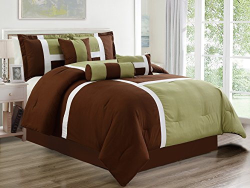 7 Piece Oversize SAGE GREEN / BROWN Patchwork All-Season Comforter set 104