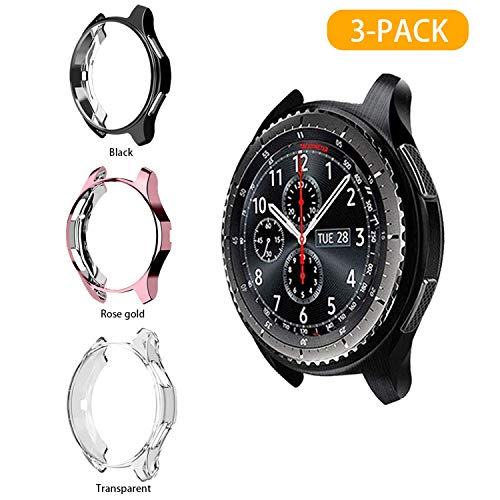 LAEPHO 3-Pack Case Cover for Samsung Galaxy Watch 42mm,Soft TPU Scratch-Proof Cover All-Around Protective Bumper Shell for Samsung Galaxy Watch 42mm(Clear+Black+Rose Gold)