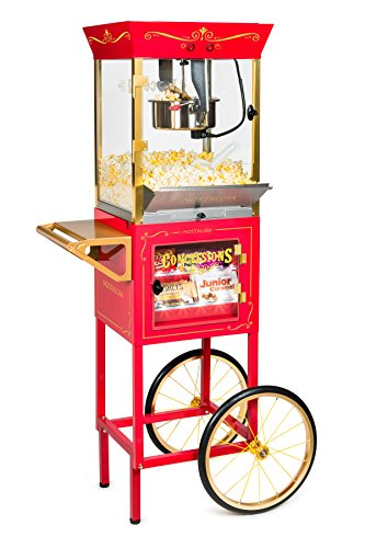 Nostalgia CCP610 Vintage New 10-Ounce Professional Popcorn & Concession Cart, 59 Inches Tall, Red (Best Popcorn Machine For Home Use)