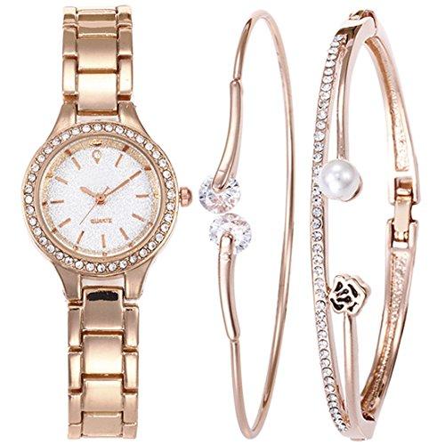 (Souarts Women's Rhinestone Round Quartz Chain Watch Bracelet Jewelry Set Rose Gold Color White)