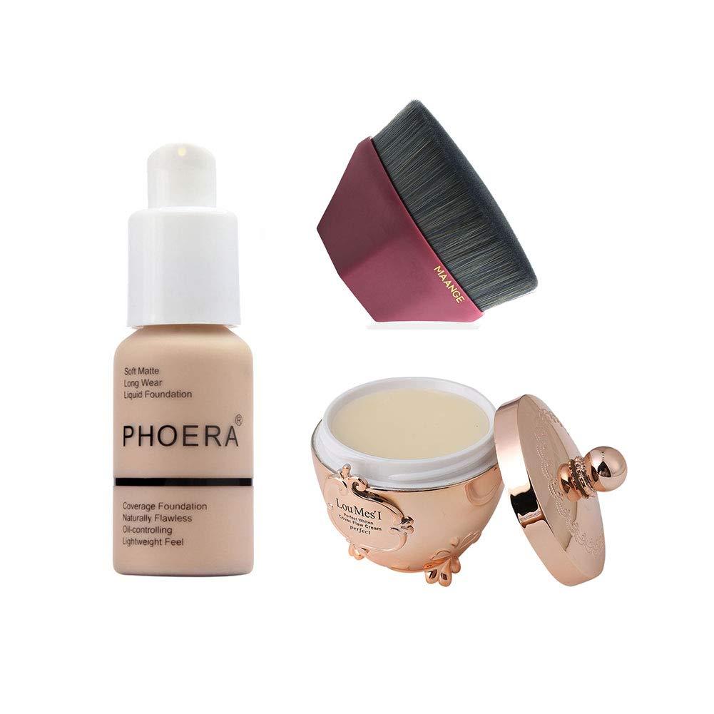 Lennvan Concealer Foundation with Pores Minimizer Primer and Foundation Brush, Matte Liquid Foundation Makeup Kit