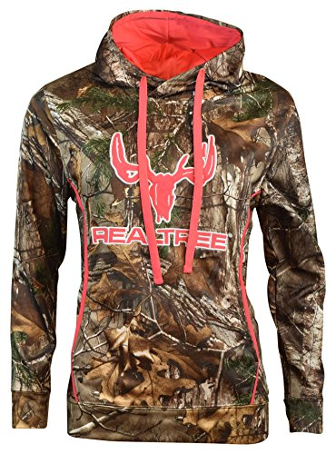 (Real Tree Raksa Cottonwood Canyon Women's Pullover Hoodie (Camo/Pink, Medium)