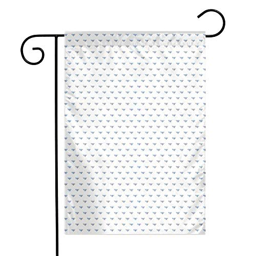 Mannwarehouse Diamonds Garden Flag Geometrical Design Rhombuses and Lines on The Collection of Natural Rocks Premium Material W12 x L18 Baby Blue Pearl