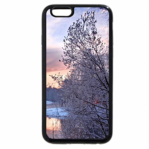 iPhone 6S Case, iPhone 6 Case (Black & White) - sunset reflected on a lake in winter