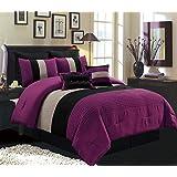 "8 Piece KING Size DARK PURPLE / BLACK / WHITE Pin Tuck Stripe Regatta Goose Down Alternative Comforter set 104"" X 90"" Bedding with Accent Pillows and Euro Shams"