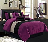 Black and Purple Comforter Sets Queen 8 Piece KING Size DARK PURPLE / BLACK / WHITE Pin Tuck Stripe Regatta Goose Down Alternative Comforter set 104