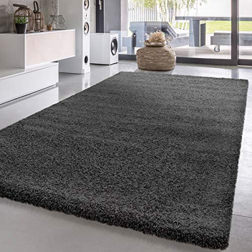 - Deep Pile Shaggy Rug Great Price One Color In Anthracite, Size: 3'11