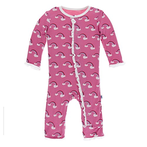Kickee Pants Print Classic Layette Ruffle Coverall Flamingo Rainbow (0-3 Months) (Classic Coverall)