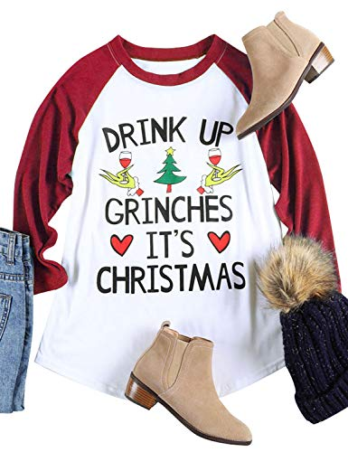 Nlife Women Drink UP Grinches It's Christmas T-Shirt Long Sleeves Casual Tops Blouse
