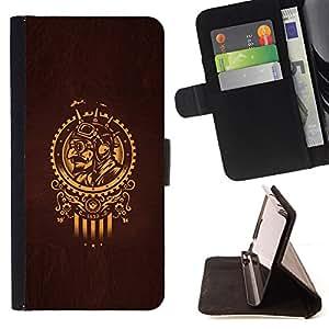 BullDog Case - FOR/Apple Iphone 5 / 5S / - / GOLDEN SAMURAI SUN SYMBOL BROWN /- Monedero de cuero de la PU Llevar cubierta de la caja con el ID Credit Card Slots Flip funda de cuer