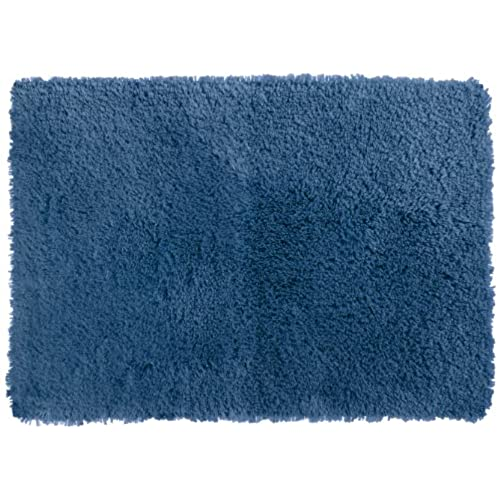 Crowning Touch Luxurious Non Slip Bath Rug, 17 By 24 Inch, Denim