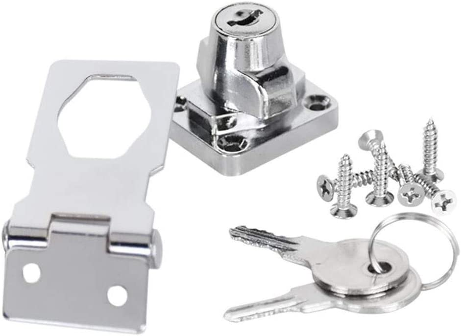 Size : 3 inch MUMA 4 Pcs Metal Lock Hasp 69mm Door Bolt Latch Buckle With Padlock And Key