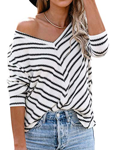 StarVnc Women Stripe Printed V Neck Shirt Long Sleeve Loose Blouse Comfy Fashion Tops Beige