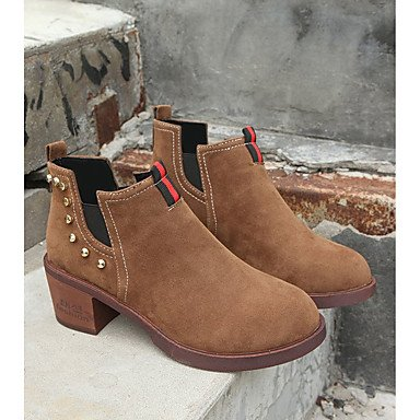 RTRY Women'S Shoes Pu Fall Winter Combat Boots Boots Block Heel Round Toe Mid-Calf Boots For Casual Light Brown Army Green Black US5.5 / EU36 / UK3.5 / CN35 mczOUDt