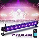 SOLMORE UV Black Light Bar 27W 9LEDs Flood Light DJ Blacklight for Glow Party Stage Club Disco Show AC100-240V (with Remote)