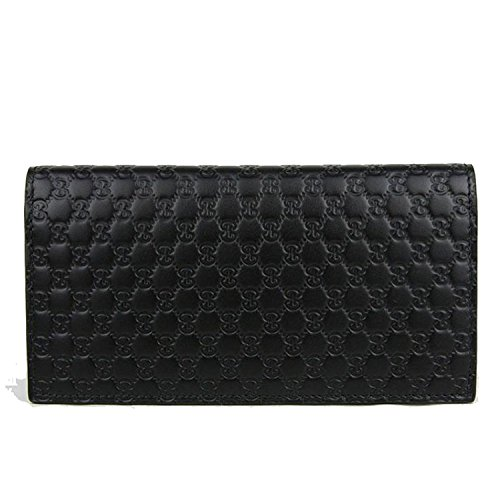 Gucci GG Guccissima Leather Long Flap Wallet 449245 Black ()