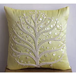 Amazon.com: Luxury Yellow Pillow Covers, Pearl Tree Pillows Cover, 14
