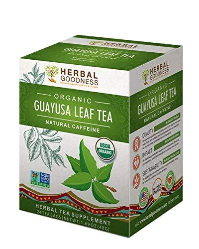 Guayusa Leaf Tea - Clean Energy Boost Drink - Brain Clarity - Lucid Focus - Fat Burner Natural Caffeine - Coffee Alternative - Anti-Inflammatory - Organic, Non GMO, Kosher, 24/2g Tea bags, Made in USA (Best Tea To Lower Blood Sugar)