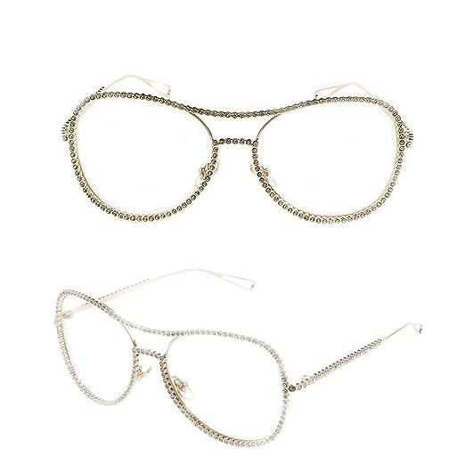 d79fc459504 Yumian Women Oversized Metal Frame Clear Lens Rhinestone Eye Glasses Nerd  Spectacles (Gold)