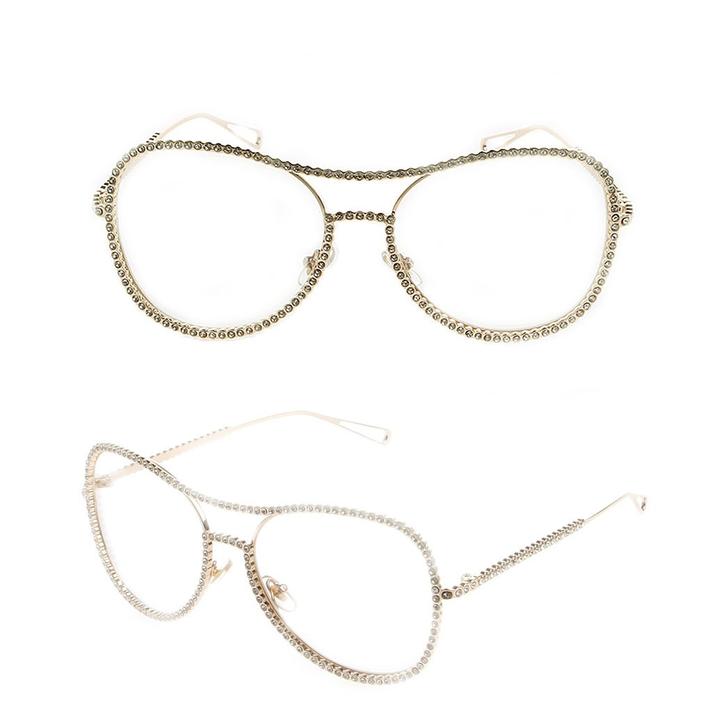 EA-STONE Women Oversized Metal Frame with Rhinestone Eye Glasses,Clear Lens Nerd Spectacles Stylish Glasses Party Glasses (Gold)