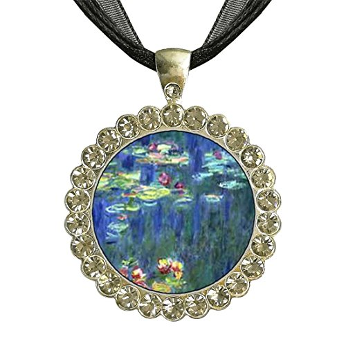 (GiftJewelryShop Silver Plate Monet Water Lilies White Crystal Charm Pendant Necklace)
