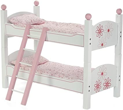 Amazon Com 18 Inch Doll Bunk Beds For American Girl Dolls 2 Single Stackable 18 Inch Doll Beds 18 Doll Bunk Bed Includes 2 Sets Of Doll Bedding Ladder