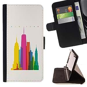 BullDog Case - FOR/Samsung Galaxy Note 4 IV / - / CITY COLORFUL ART SKYSCRAPERS POLY ART /- Monedero de cuero de la PU Llevar cubierta de la caja con el ID Credit Card Slots Flip funda de cuer