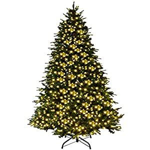 Goplus Artificial Christmas Tree Pre-Lit Spruce Hinged Tree w/LED Lights and Pine Cones