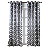 NAPEARL Jacquard Semi-Blackout Grommet Top Curtain Panel Living Room Window Treatment Set of 2 Panels (Gray, 52