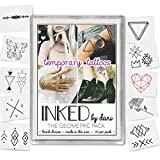 INKED by Dani Temporary Tattoo Designs – Geometric Pack. Realistic, Hand-Drawn Body Art. (Lasts up to 2 weeks)
