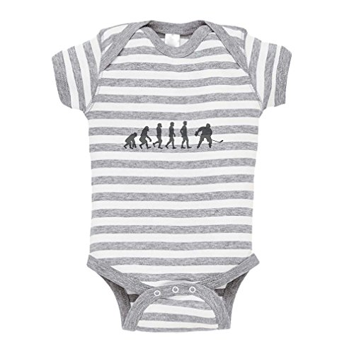 Cute Rascals Evolution of Ice Hockey Baby Kid Stripe Fine Jersey Bodysuit Grey 12 - Jersey Hockey Evolution