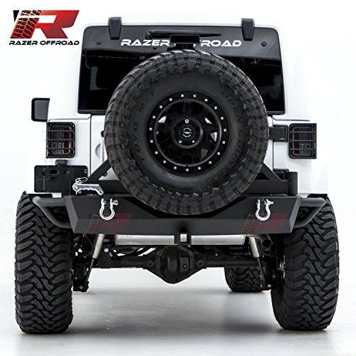 - Razer Auto Textured Black Heavy Duty Rock Crawler Rear Bumper W/ Tire Carrier & Two 4.75 Ton With D-Rings & 2