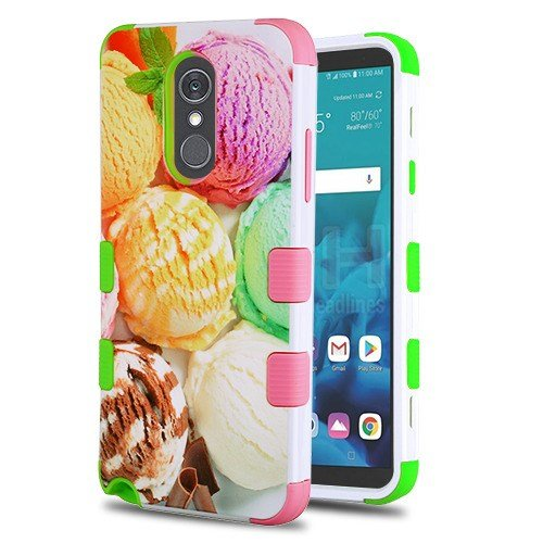 (Wydan Case Compatible for LG Stylo 4 - Tuff Hybrid Shockproof Case Protective Heavy Duty Phone Cover - Ice Cream Scoops)