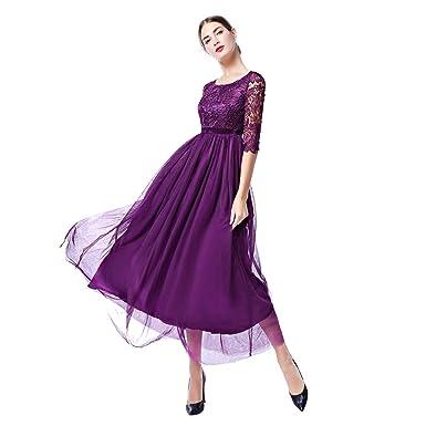 IWEMEK Vestido Largo de Tul de Encaje Floral para Mujer, Vintage, Elegante, 2/3 Mangas, Vestido Largo para Fiesta de Boda o Dama de Honor