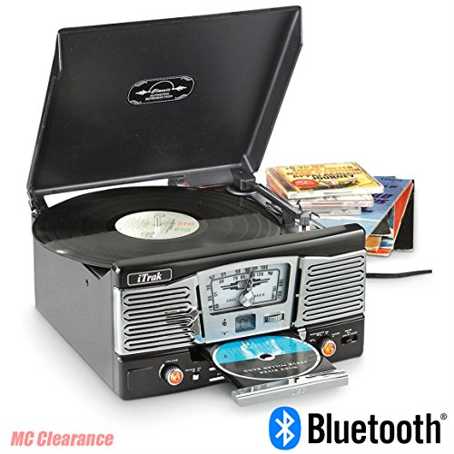 Bluetooth Entertainment Center iTrak BT9682GB Retro 4-In-1 Stereo Limited Edition, AM/FM Radio 3 Speed Turntable, Top Loading, Bluetooth Connectivity, Dynamic Stereo Speakers