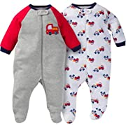 Gerber Baby Boys 2 Pack Zip Front Sleep n Play (Newborn, Emergency Vehicles)