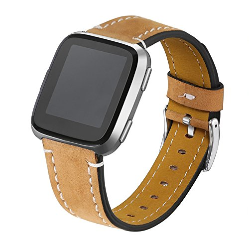 bayite Bands Compatible Fitbit Versa, Classic Genuine Leather Accessories Wristband Replacement Fitness Strap for Versa Light Brown Women Men