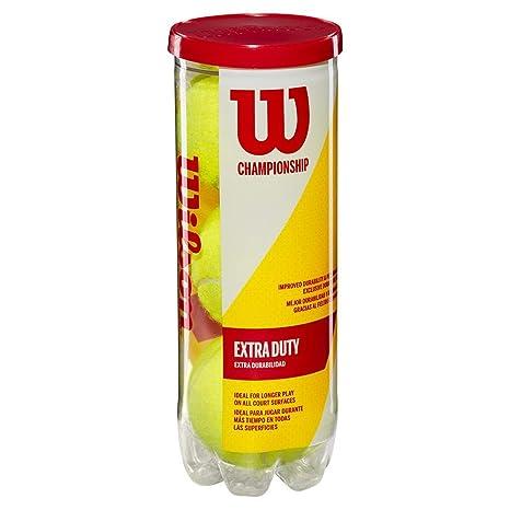 Wilson Champ Extra Duty Pelotas de tenis, tubo con 3 pelotas, para todas las superficies, amarillo