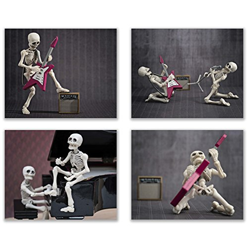 Summit Designs Music Skeleton Wall Decor Prints - Set of 4 (8x10) Poster Photos - Funny Hispster Guitar Skull and -