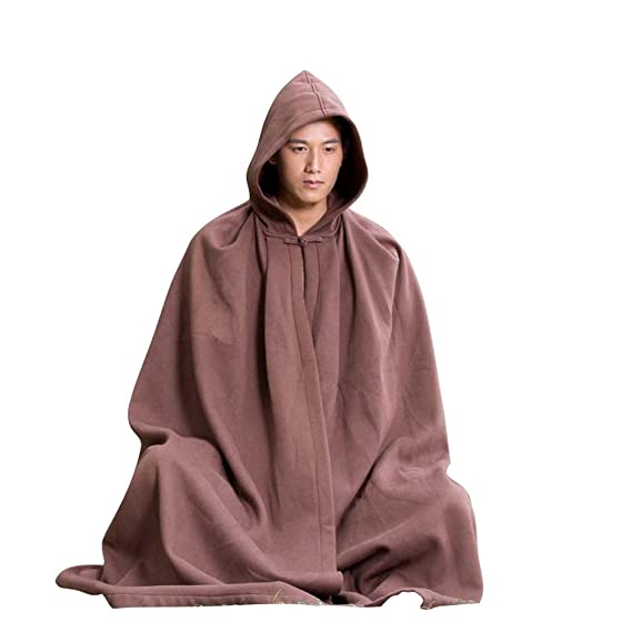 Meditation Cloak - Brown Hooded Coat Cape Unisex Women's Men's Yoga Buddhist Relaxation Robe 1tBKY