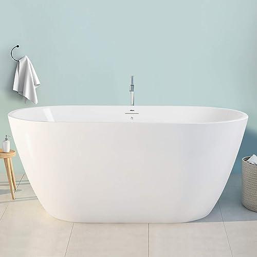 FerdY Bali 55″ Freestanding Bathtub Gracefully Shaped Freestanding Soaking Bathtub