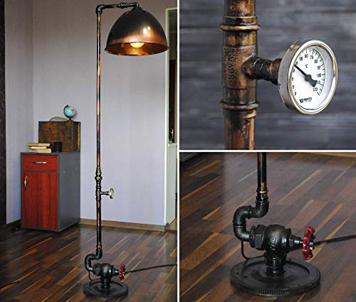 (Floor lamp industrial Edison lamp Floor lamp vintage Floor lamp shade Ooak gift Rustic decor Rustic floor lamp Vintage industrial pipe Pipe lamp floor Rustic lamps for bedrooms Rustic lamp industrial)