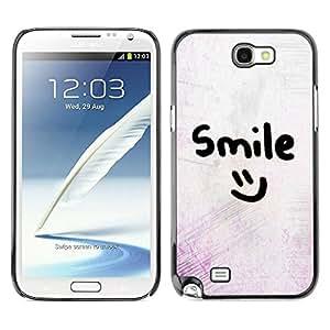 rígido protector delgado Shell Prima Delgada Casa Carcasa Funda Case Bandera Cover Armor para Samsung Note 2 N7100 /Smiley Emoticon/ STRONG