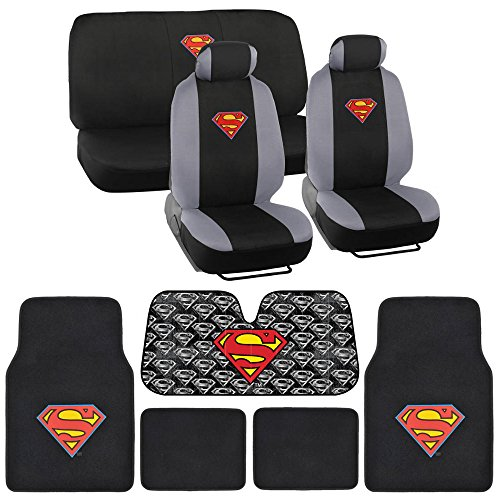Superman Seat Cover, Carpet Floor Mat and Sun Shade - Warner Brothers 14 Piece Full Interior Protection Auto Accessories