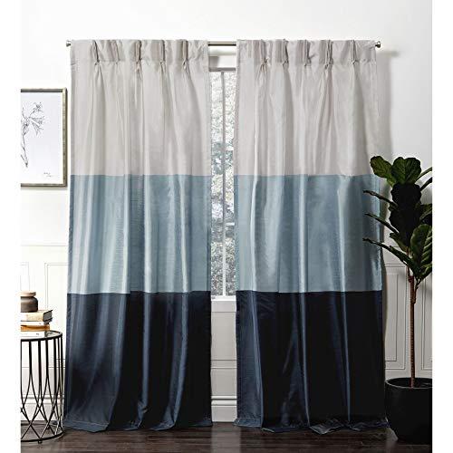 (Exclusive Home Curtains Chateau Pinch Pleat Curtain Panel, 54x96, Indigo, 2)