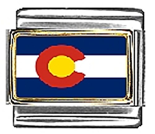 - State of Colorado Photo Flag Italian Charm Bracelet Jewelry Link